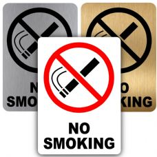No Smoking-Design 1-Aluminium Metal Sign-150mmx100mm-Notice,Door,Warning,Health,Safety,Premises